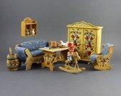 RESERVED ML Vintage 1 10 Scale German Bavarian Kitchen Dinning Room Dollhouse Miniature Furniture Wooden Hand Painted Dora Kuhn Set 7pc