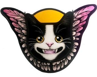 stained glass angel cat, tuxedo cat,  cat art, catlover gift
