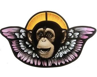 stained glass monkey angel, cherub , chimp , monkey art