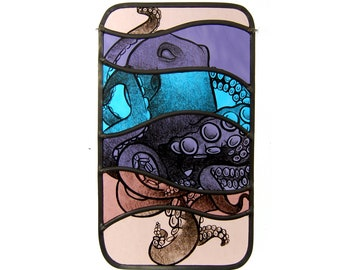 stained glass octopus, octopus art, purple art, ocean animals