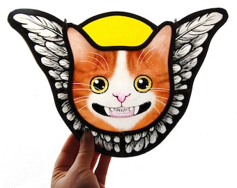 stained glass angel cat , ginger cat, cat art, cat gift