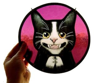 stained glass tuxedo cat, cat art, glass art, cat portrait
