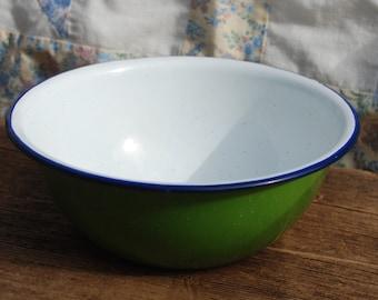 Vintage Enamel Bowl Small Blue Enamel Bowl Made in Poland Enamelware Mixing Bowl