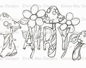 Instant Download Fairy Mushrooms Printable Coloring Page Digital Kids Pages