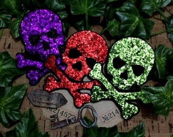 Super Sparkly Skull & Crossbones Stickers Patch Motifs Available in a rainbow of colors
