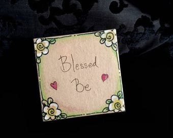 Gift Box One off, one of a kind, Unique Square Blessed Be Pagan Gift Box trinket box