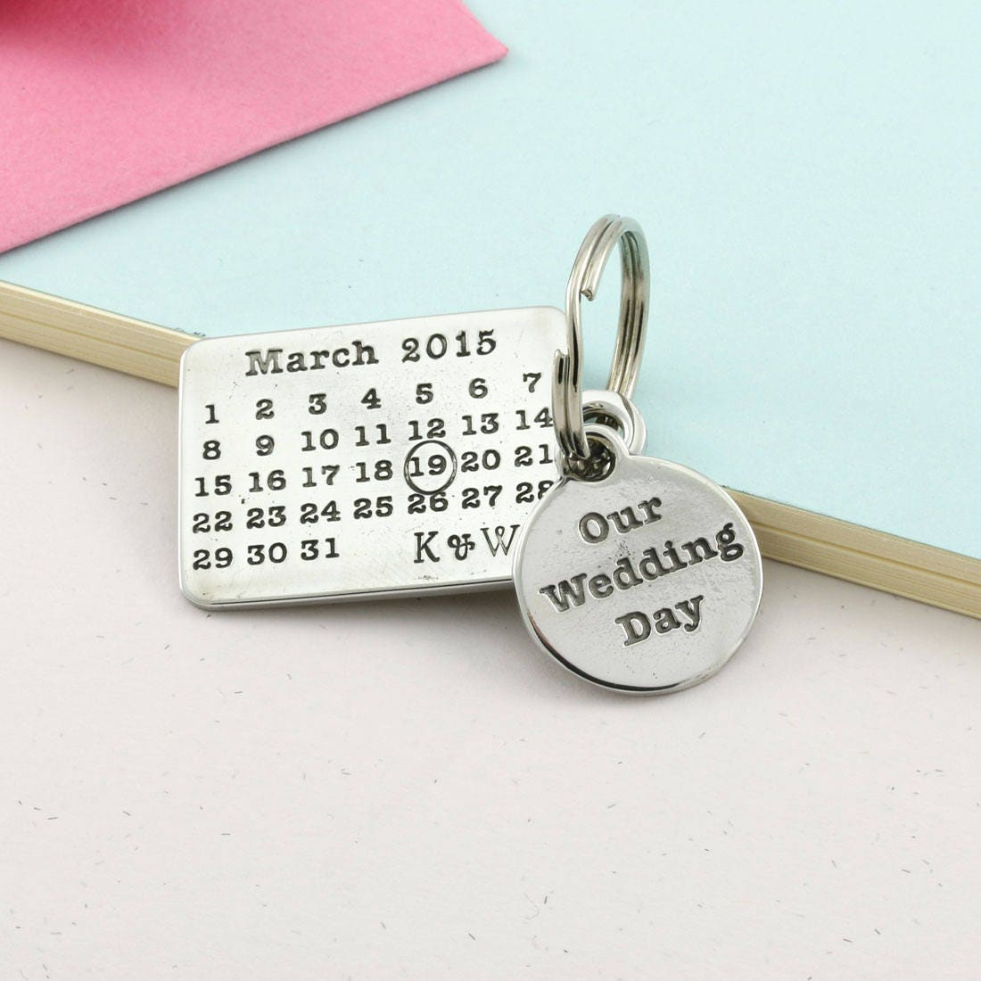 Personalised Our Wedding Day Pewter Calendar Keyring Wedding Day