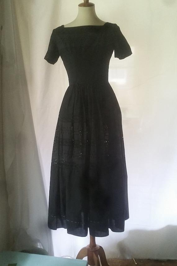1950s Arkay black cotton eyelet dinner dress