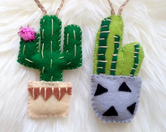 set of 2 cactus in pot decorations hand embroidered christmas decorations handmade gift hanging decorations cacti christmas tree decs