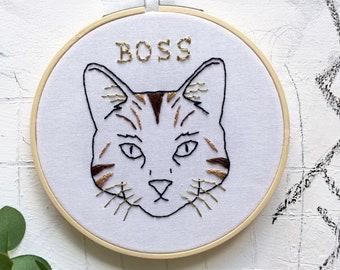 Cat Boss Embroidery Hoop Art. Modern Embroidery. Wall/Home/Boho Decor. Embroidery Art. Cat Embroidery. Art.