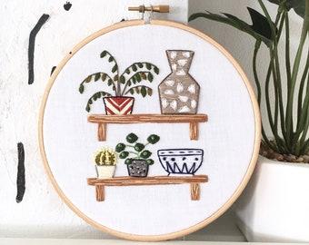 Houseplants/Cacti/Vase/Bowl on Shelves Embroidery Hoop Art . Modern Embroidery. Wall/Home/Boho Decor. Embroidery Art. Plant Embroidery. Art.