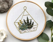 Terrarium with Succulents Embroidery Hoop Art. Aloe Vera. Modern Embroidery. Wall Home Boho Decor. Embroidery Art. Plant Embroidery. Art.