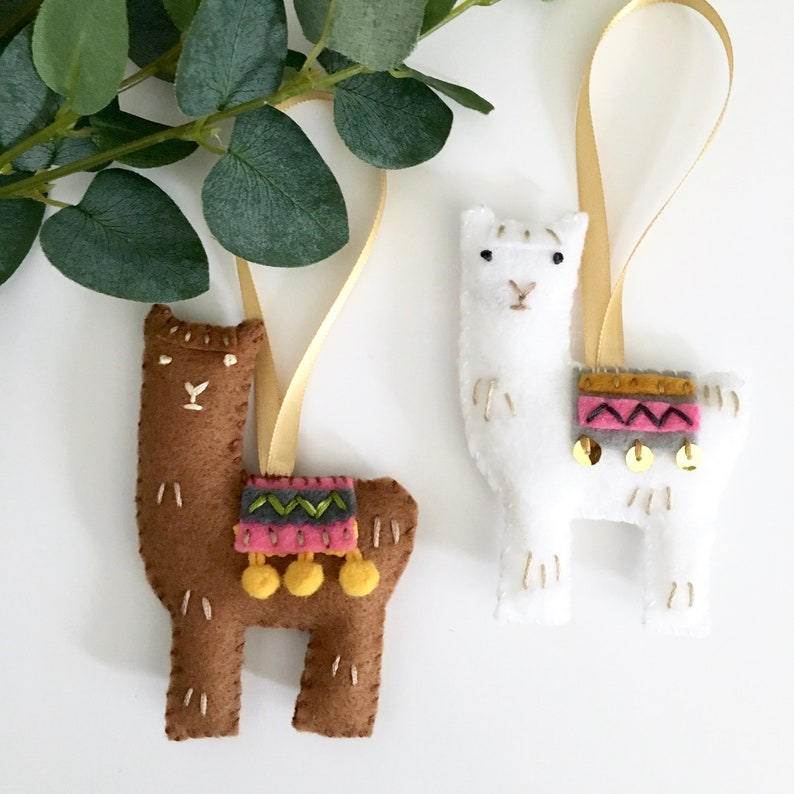 Llama Christmas Decorations.Set Of 2 Llama Decorations Hand Embroidered Christmas Decorations Handmade Gift Hanging Decorations Llama Christmas Tree Decorations