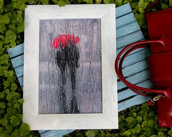 Red umbrella print Wood wall art decor frame Decoupage romance black and white picture Birthday gift for her 3D raindrops Men office decor