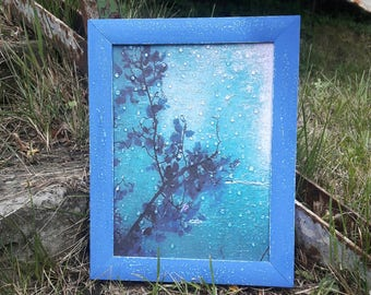 Rainy Day wall art picture decoupage 3D rain drops interior print Frame no glass  Blue window drops Art Painting romantic picture gift her