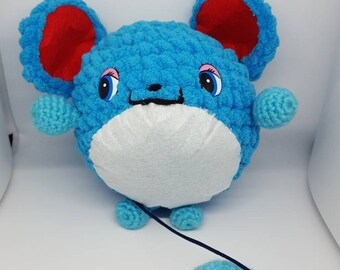 Plush toy based on the Pokemon blue Marill XXL 16 cm Amigurumi, big crochet of pen. Game. Gift for children, anime fans