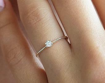 Small Minimalist Womens Silver Ring, Delicate Promise Ring, Simple Promise Ring for Her, Minimalist Silver Promise Ring, Small Promise Ring