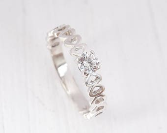 Promise ring for her, Heart ring, Solitaire ring, Valentines ring, Romantic ring, Gift for girlfriend, Silver promise ring,Custom stone ring