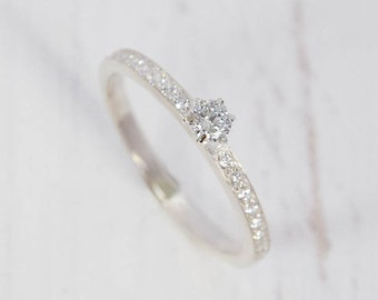 White topaz ring, Silver ring women, Silver ring for her, Dainty ring, Fine ring, Promise silver ring,Promise ring for her,Custom stone ring