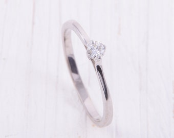 c97b28b93d Delicate ring, Silver solitaire ring, Promise ring for her, Minimalist ring,  Tiny ring, Small ring, Cz ring silver, White stone ring