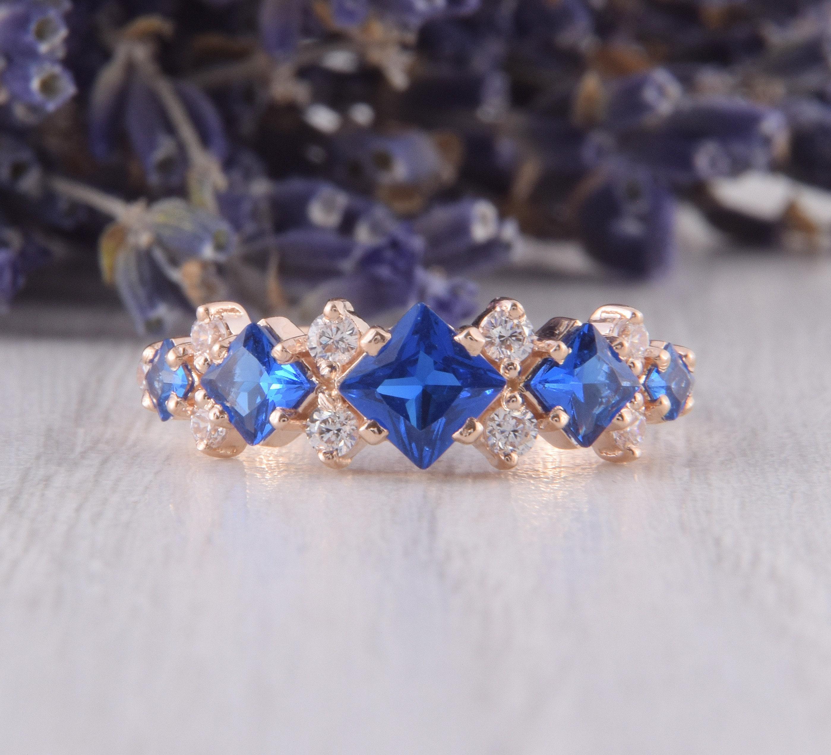 Rose Gold Art Deco Sapphire Wedding Band, Unique Womens Wedding Band, Sapphire Jewelry, Womens Sapphire Ring, Gold Sapphire Ring