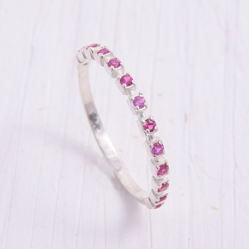 Silver wedding band Ruby wedding band Delicate ring Tiny wedding ring Elegant ring Women wedding ring Ruby ring Silver wedding ring