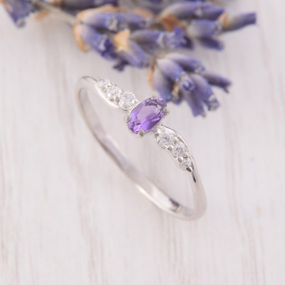 Dainty Amethyst Ring Womens Amethyst Ring Purple Stone Ring Amethyst Promise Ring Art Deco Silver Ring Unique Amethyst Silver Ring
