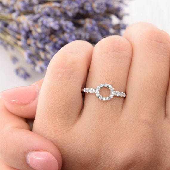 Simple Promise Ring Round Silver Ring Circle Silver Ring Etsy
