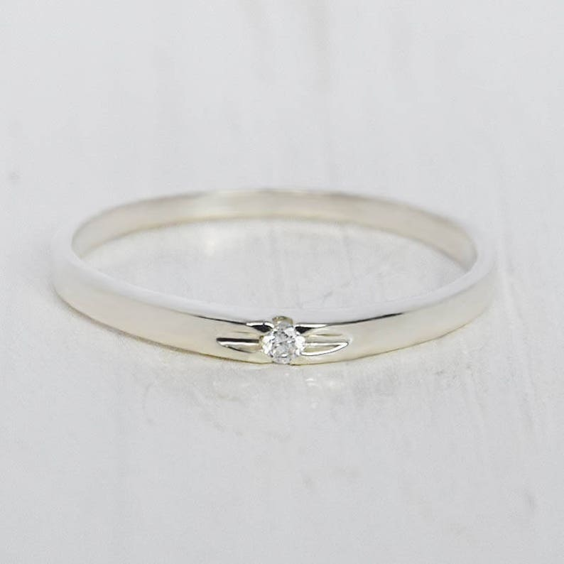 Minimalist ring Delicate ring Tiny ring silver Thin ring Promise ring silver Solitaire ring Dainty ring silver Small ring
