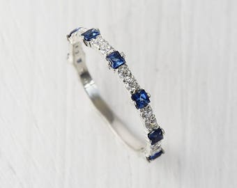 Sapphire wedding band, Sapphire band ring, Unique wedding ring, Tiny ring, Dainty ring, Sapphire ring silver, Blue sapphire ring