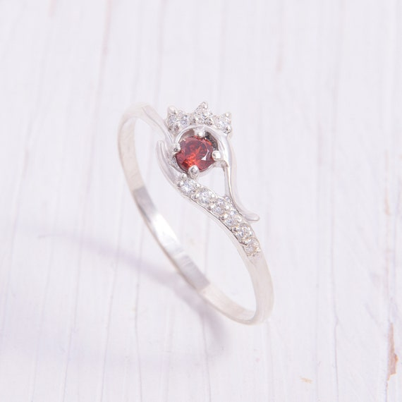 Womens Dainty Silver Ring Unique Womens Garnet Ring Art Deco Silver Promise Ring Marquise Ring Red Stone Ring Silver Garnet Ring