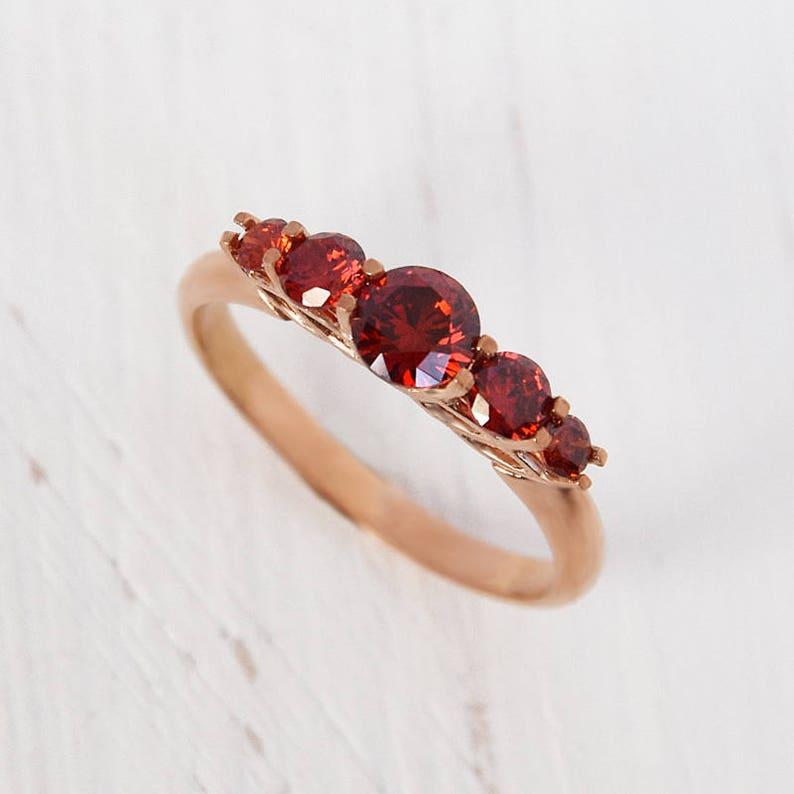 Super Granaat ring goud rood steen ring rode verlovingsring | Etsy @MF09