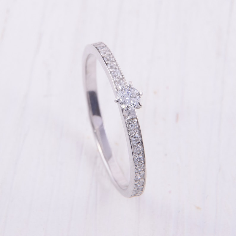 White topaz ring Silver ring women Silver ring for her image 0
