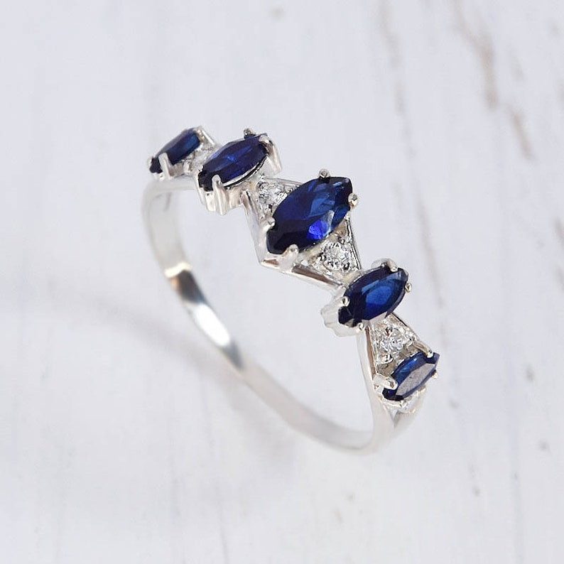 Sapphire Ring Blue Stone Ring Marquise Ring Promise Ring Etsy