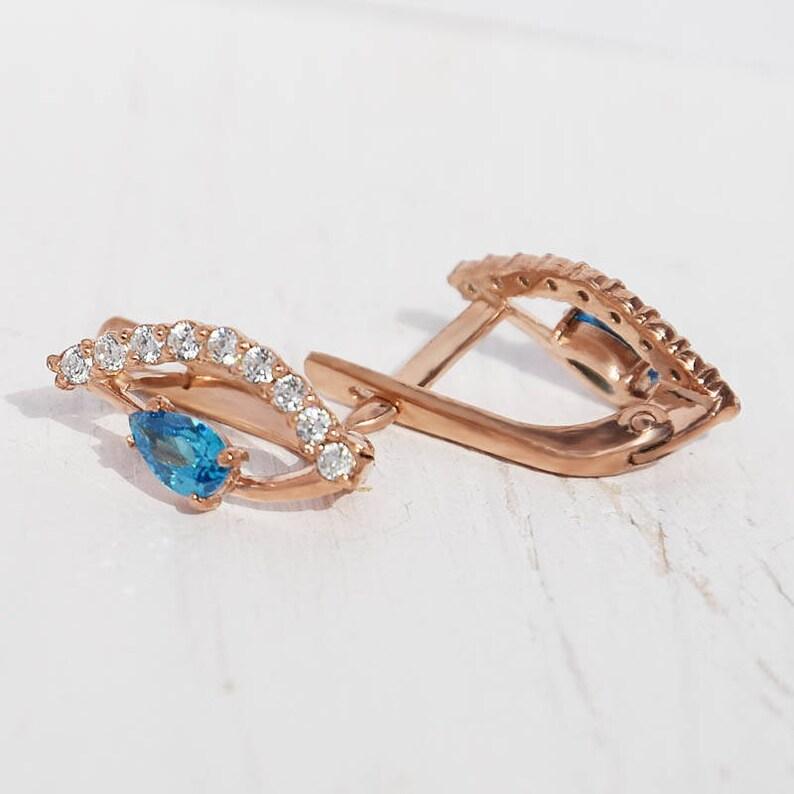 Pear earrings Blue stone earrings 14k gold earrings,Dainty earrings,Casual earrings Rose gold earrings Everyday earrings Topaz earrings
