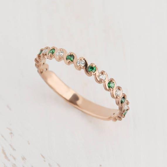 Emerald Wedding Band.Emerald Ring Gold Emerald Wedding Band Emerald Wedding Ring Women Wedding Ring Eternity Band Gold Emerald Band Gold Eternity Ring Gold