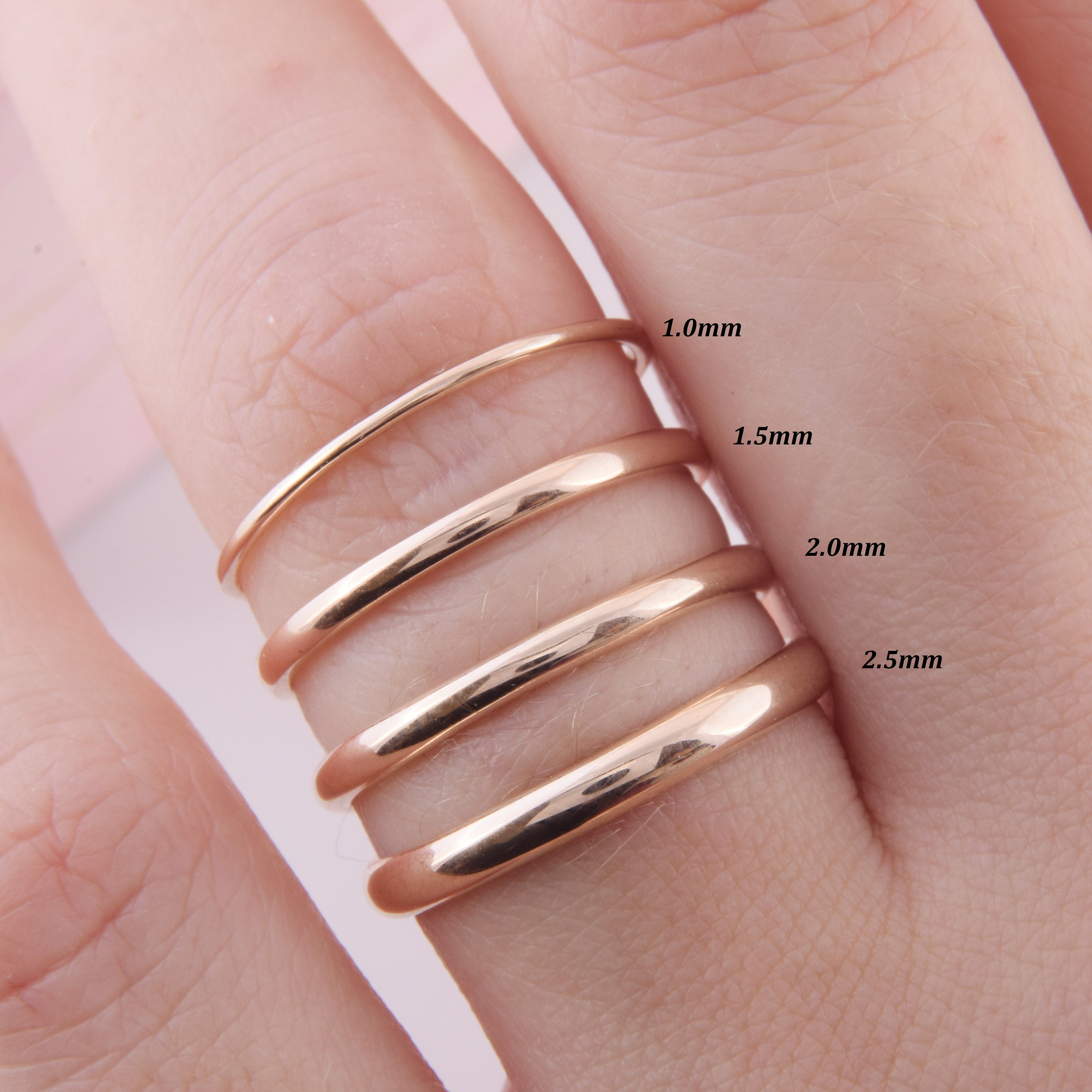 Details about  /Stackable 14K Gold Wedding Ring Simple Plain Band Womens Jewelry Gifts Size 5-10