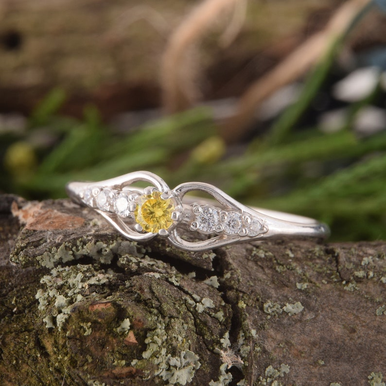 Citrine Jewelry November Birthstone Dainty Promise Silver Ring Silver Citrine Ring Yellow Stone Ring Womens Citrine Ring