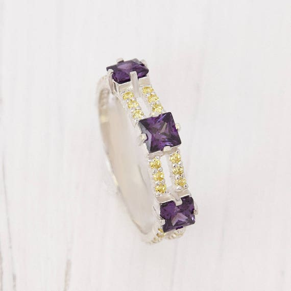 February Birthstone Synthetic Amethyst Band 1.5 mm Violet Cubic Zirconia Ring Thin Amethyst Gemstone Band Amethyst Sterling Silver Band