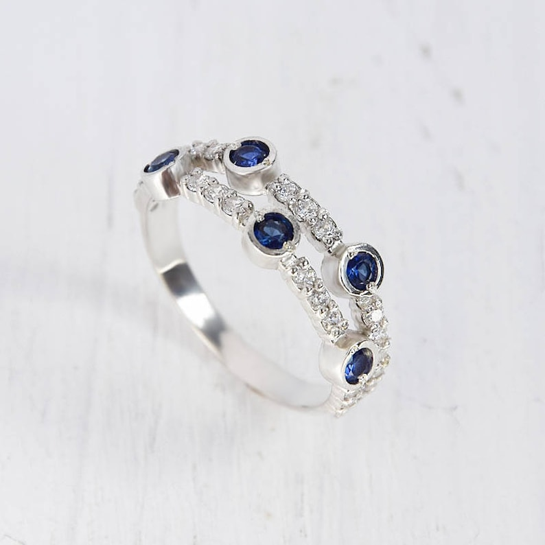 Blue sapphire ring Anniversary ring Sapphire ring silver Silver ring for her Unique silver ring Blue stone ring Multistone ring