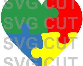 SVG Cut File Autism Puzzle Piece Heart Cut File~Silhouette Cut File~Cameo Cut File~Cricut Cut File ~Single Layer~ ~