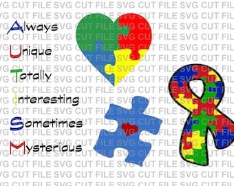 SVG Cut File 4pc Set Autism Awareness Ribbon Heart~Silhouette Cut File~Cameo Cut File~Cricut Cut File ~Single Layer~ Vinyl, Tshirts, Clipart