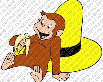 SVG-bestand knippen ~ Curious George met banaan en Hat Multi laag gesneden bestand ~ silhouet snijden bestand ~ Cameo ~ Cricut ~ ~ ijzer Ons Vinyl Cuts