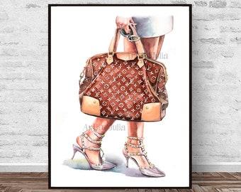 b378ac2b4e2a Louis Vuitton bag art print of my original watercolor painting