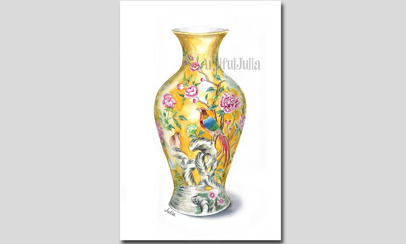 Blue and white china porcelain vase print print of hand painted watercolor painting