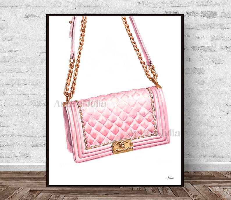 3ce7d513 Chanel art print, pink Chanel bag print of my original watercolor painting