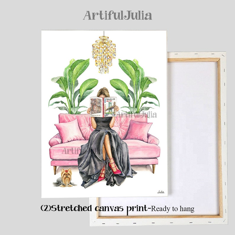 Girl Dressed Reading Traveling Magazine in Sofa fashion illustration artwork print watercolorpainting Matte Paper /& Stretched Canvas Print