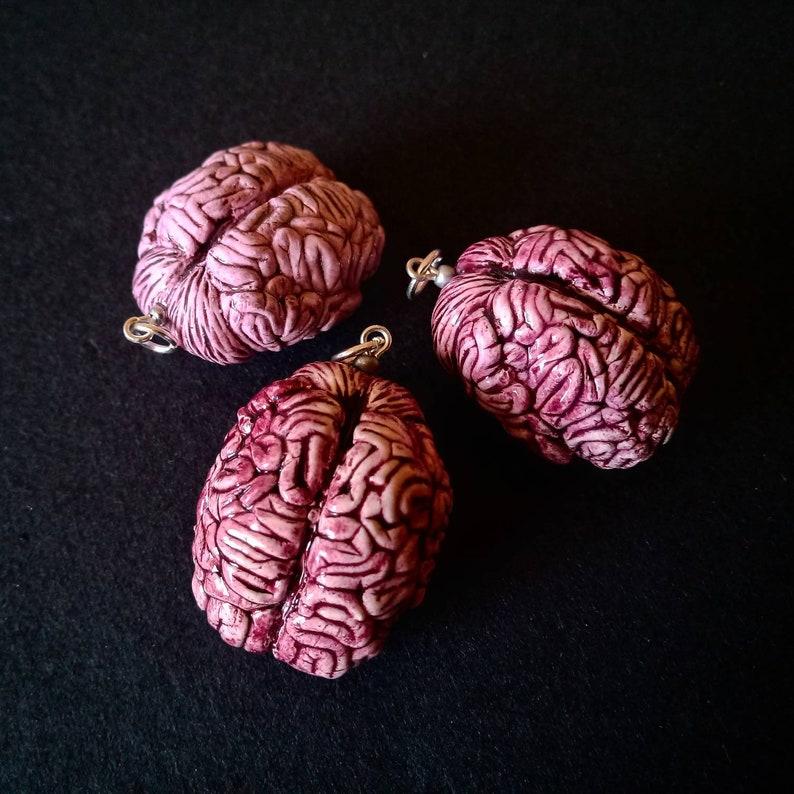 anatomical brain earrings creepy jewellery Pendant Set