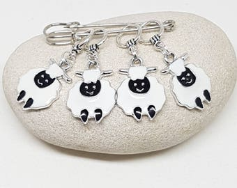 White sheep stitch markers for knitting (set of 4) - snag free enamel lamb knit markers, gifts for knitters, etst