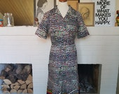 Dress from the 1970s. Size EU 42-44 / UK 14-16 / US 10-12. Waist 85 cm / 33,5 inches